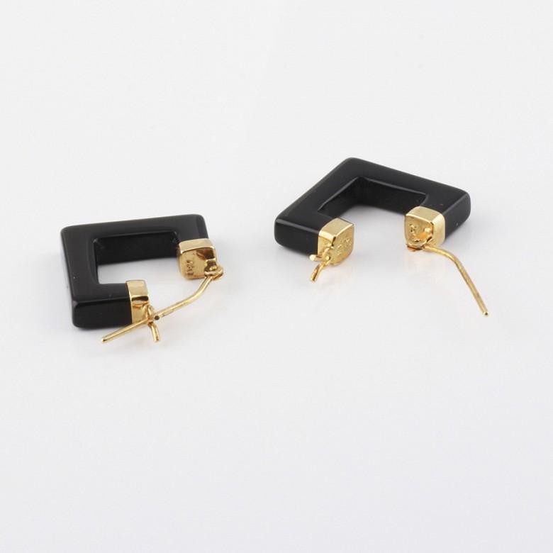 天然黑玛瑙配18K黄金耳环 - 2