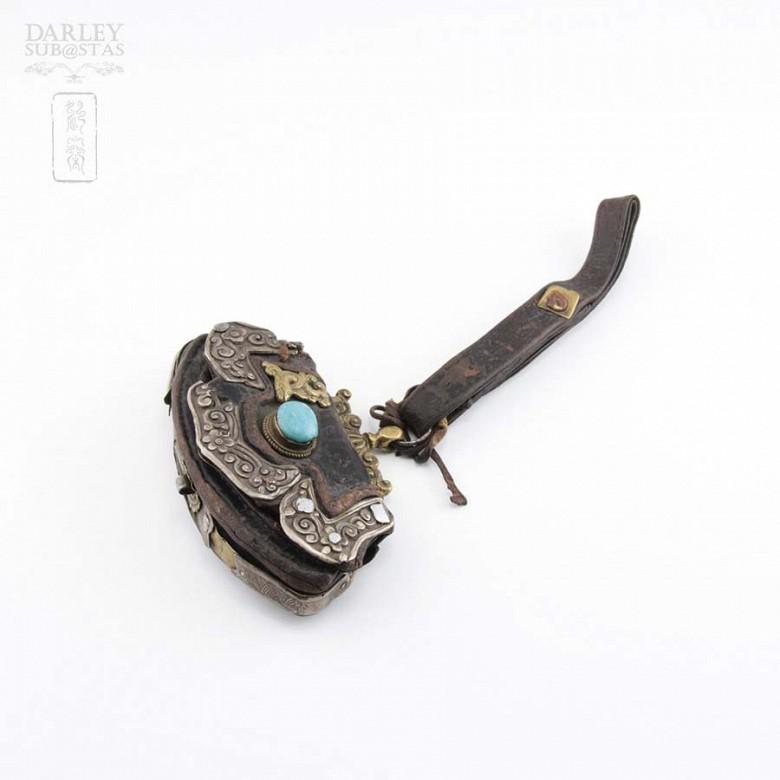 十九世紀 西藏银镶松石小皮挎包 - 2