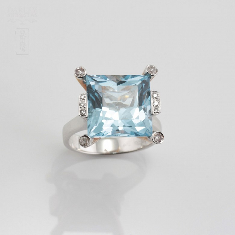 Bicolor ring in pink and white gold, topaz 9.55cts diamonds - 5