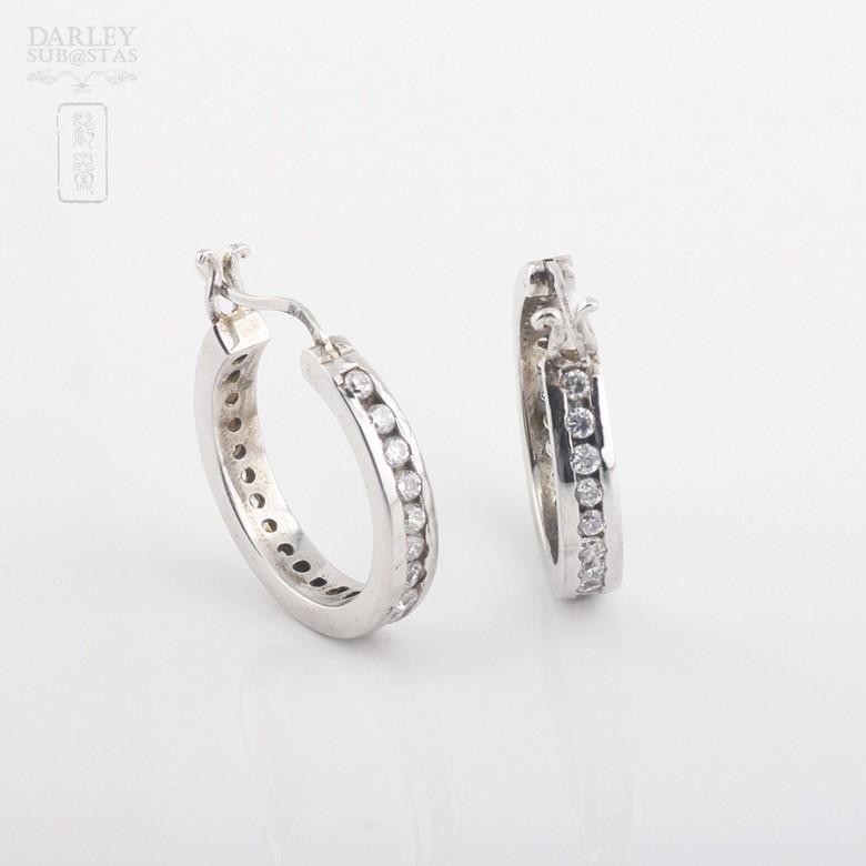 925银镀白金镶圆锆石耳环 - 2