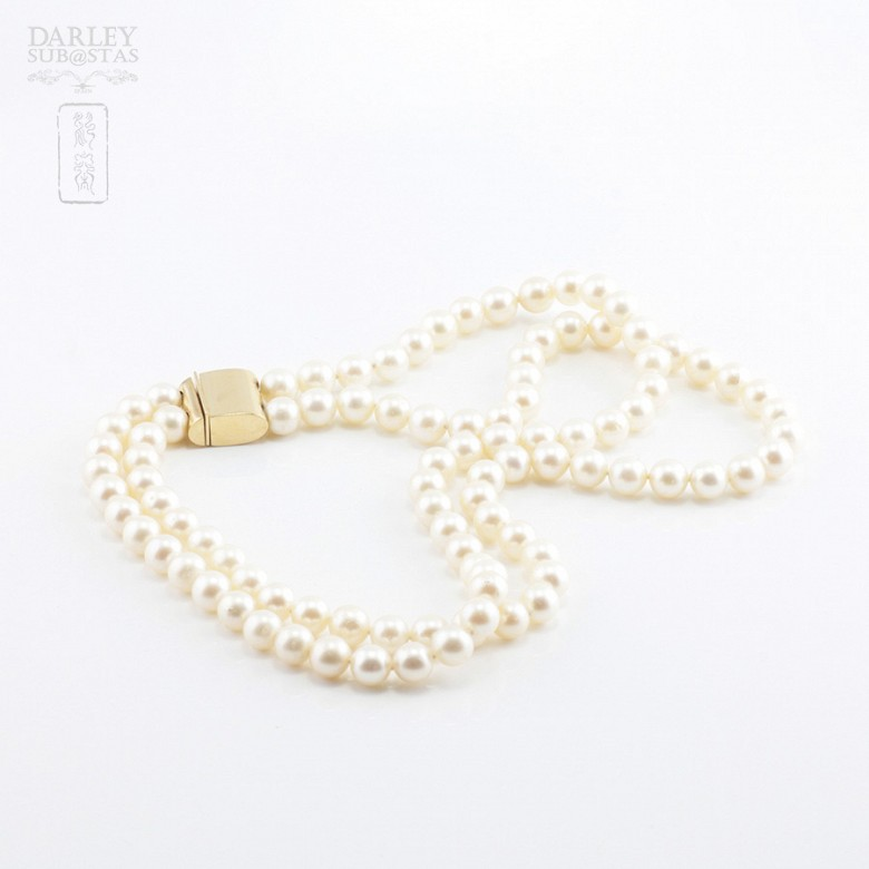 Japanese pearl necklace with sapphires and diamonds - 6