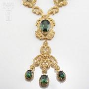 Aderezo de Fallera verde Esmeralda y dorado - 2