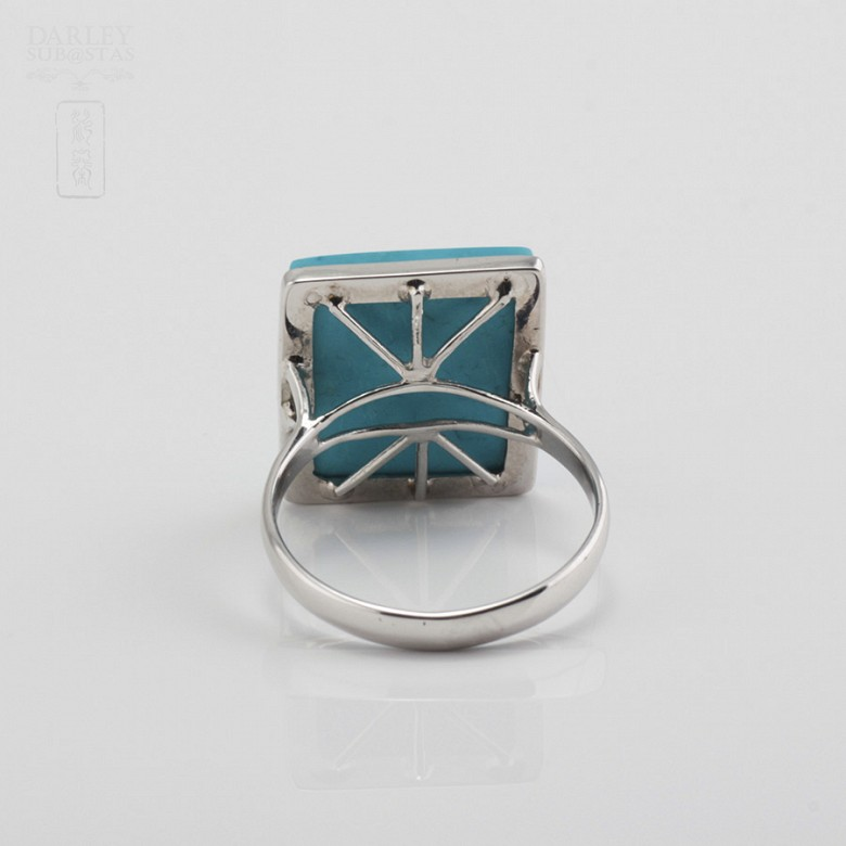 Ring Natural Turquoise  in 18k White Gold - 2
