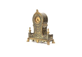 Gold plated and Boulle marquetry watch