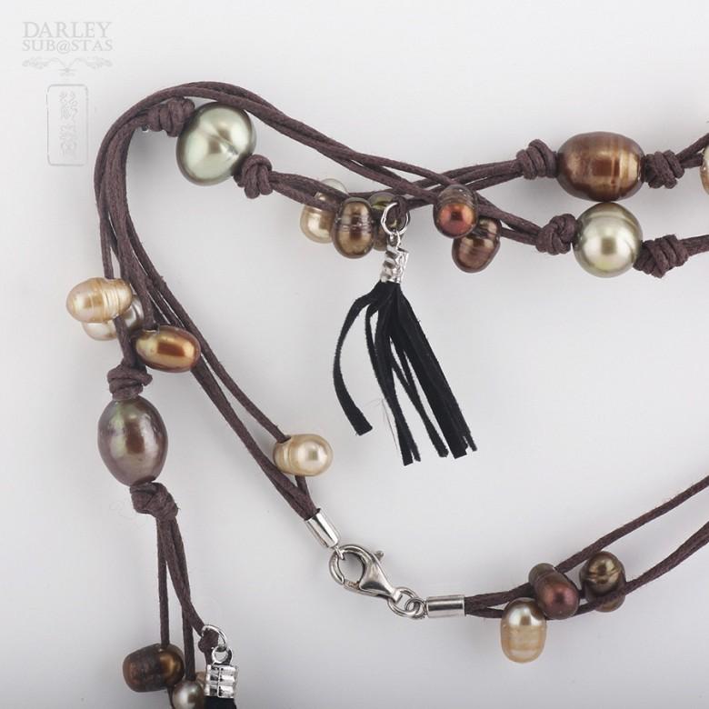 Collar largo con perlas y flecos en plata de ley, 925 - 1