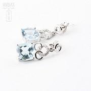 4.54克拉海蓝宝石配钻石18K白金耳环 - 1