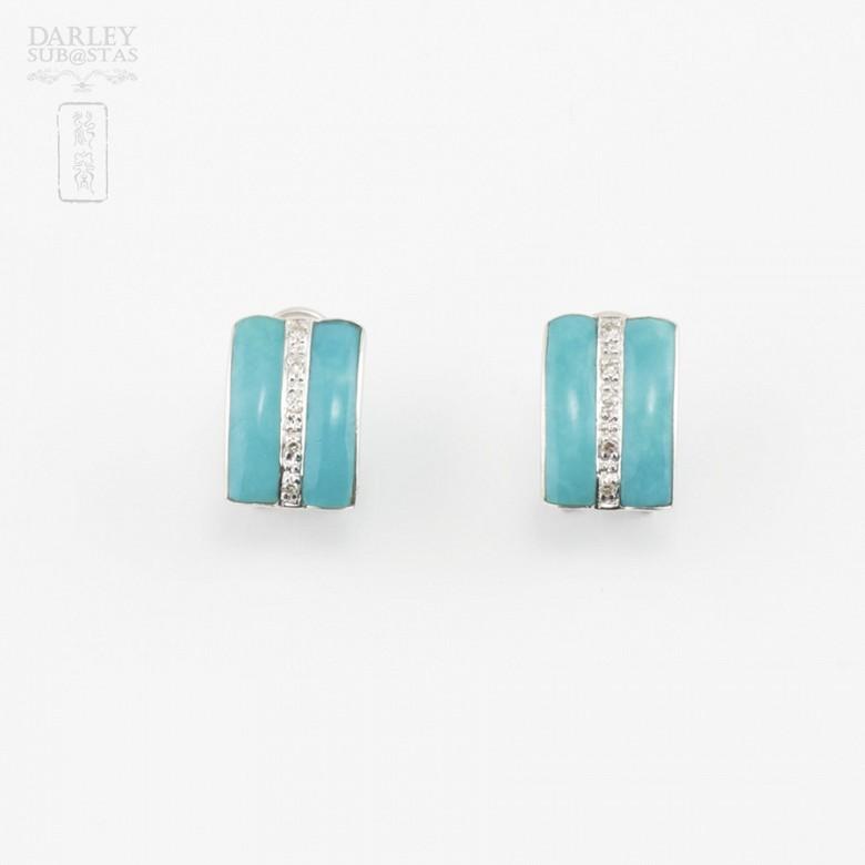 绿松石配钻石18K白金耳环 - 1
