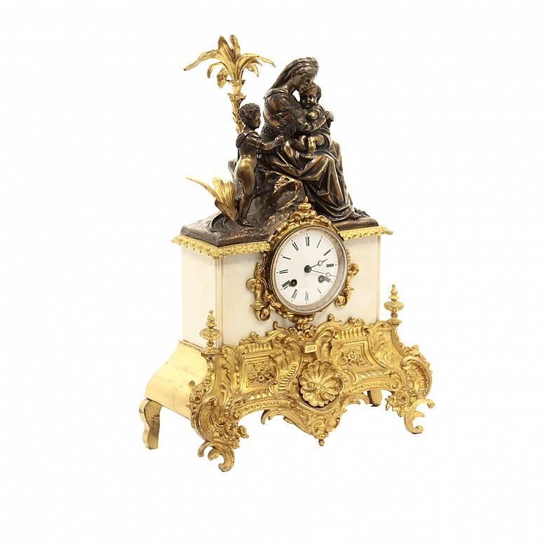 Reloj de mesa de bronce dorado y mármol, Barbot Paris, s.XIX