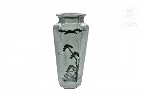 Ceramic vase with celadon background, 20th century