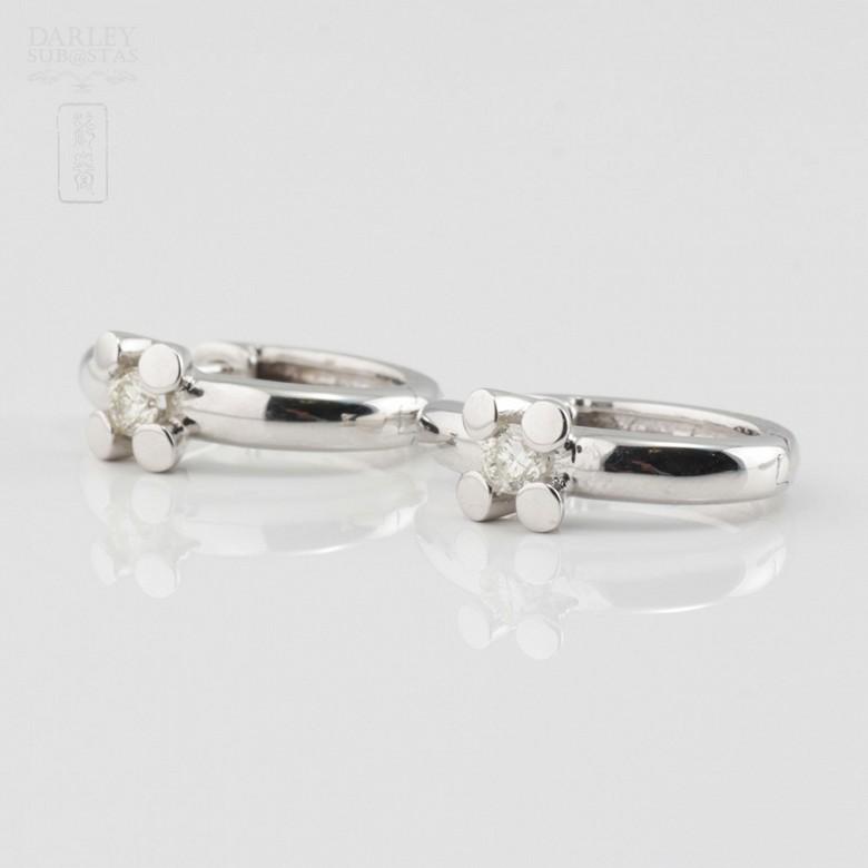 18K白金镶钻石耳环 - 2