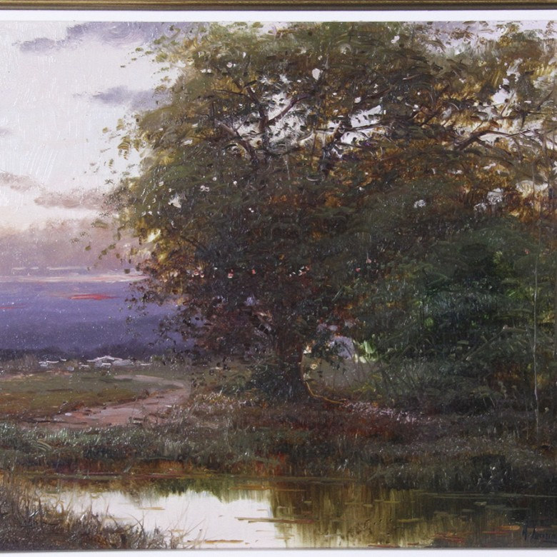Landscape with River, Oil on wood - 1