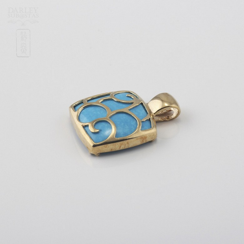 Pendant Yellow Gold and Natural Turquoise - 1