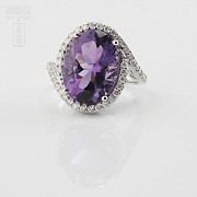 0.61cts beautiful ring with diamonds and amethyst in 18k White Gold - 2