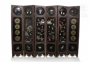 Six-leaf lacquer screen with jade and agates.