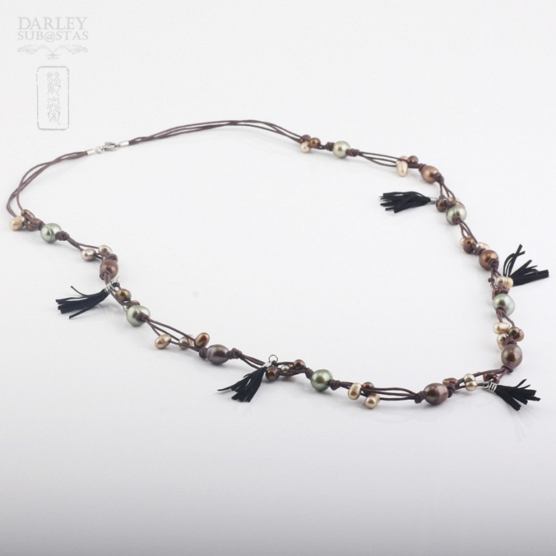 long necklace with pearls and fringes in sterling silver, 925 - 3