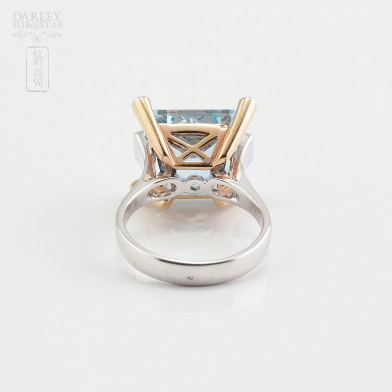 Bicolor ring in pink and white gold, topaz 9.55cts diamonds - 4
