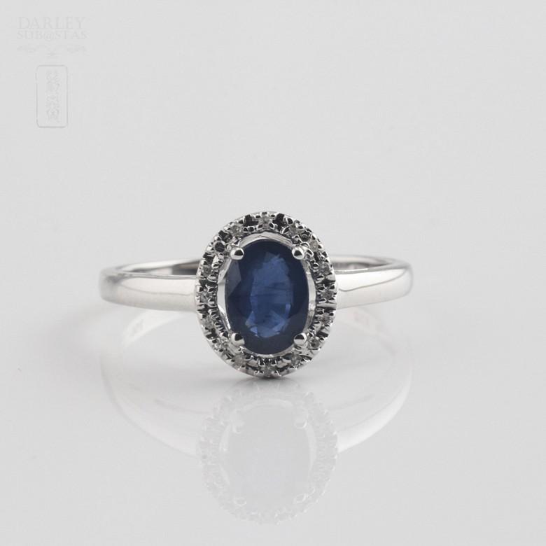 0.93克拉天然蓝宝石配钻石18K白金戒指 - 3