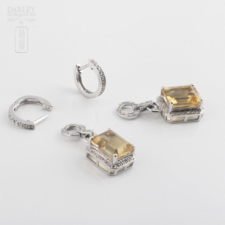 Pendientes largos con citrino 6.34cts y diamantes en oro blanco - 2