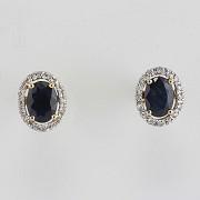 18K黄金镶蓝宝石配钻石耳环 - 1