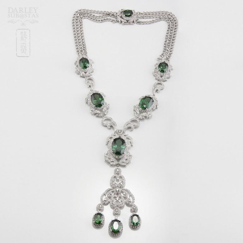 Aderezo de Fallera verde Esmeralda y plata Rodiado - 3