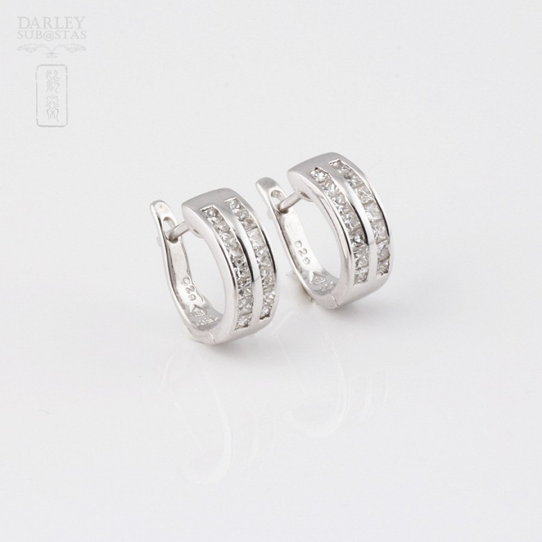 earrings diamond  0.57cts in 18k white gold - 3