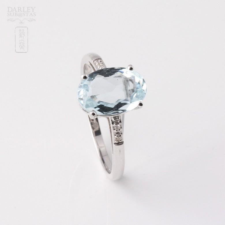 2.18克拉海蓝宝石配钻石18K白金戒指 - 4