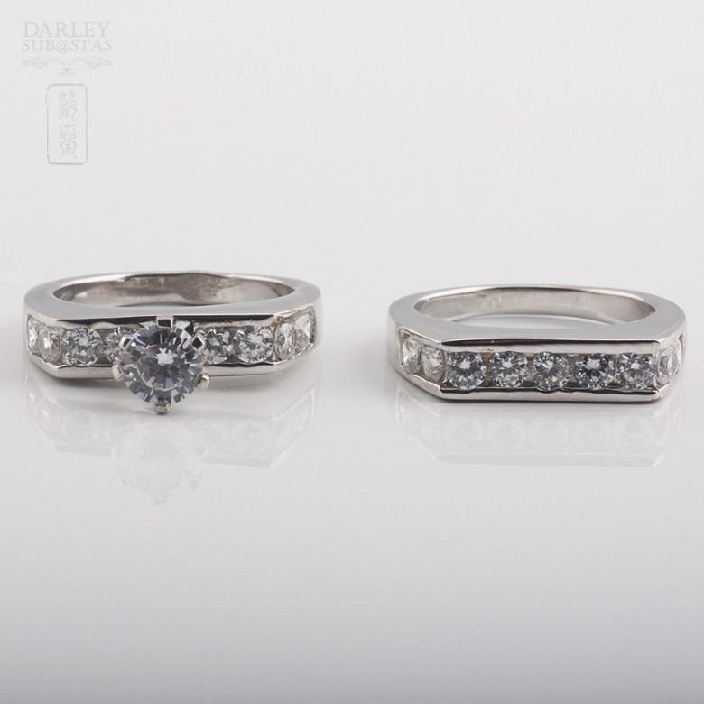 925银配锆石镀白金戒指 - 2