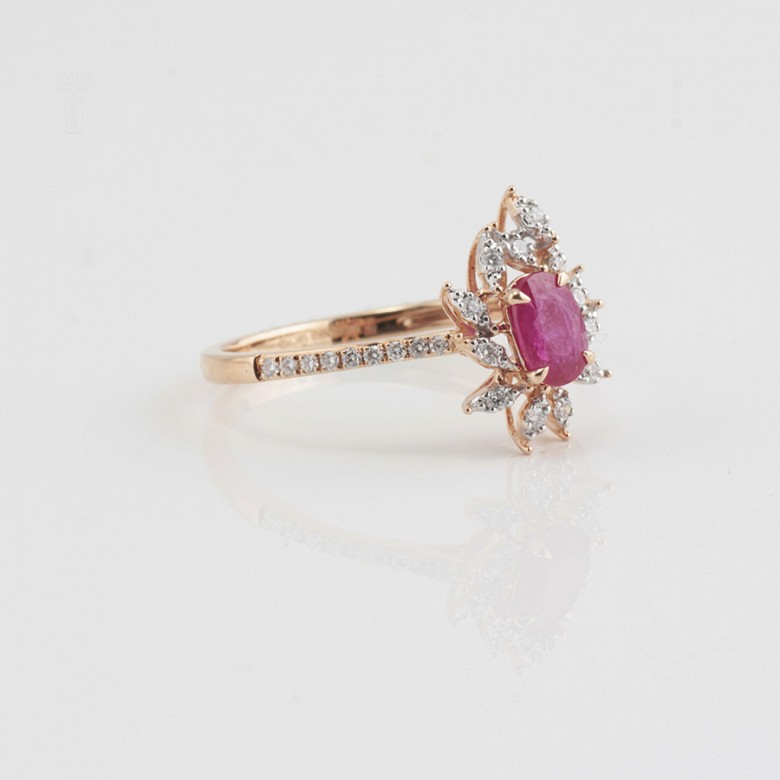 Fantastic 18k rose gold ring, ruby and diamonds - 1