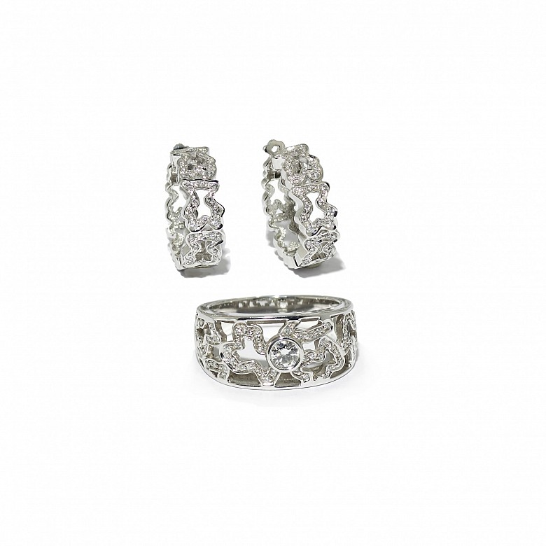 Conjunto en oro blanco de 18k y diamantes, TOUS