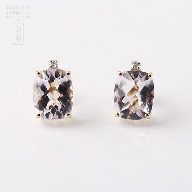 紫晶配钻石18K黄金耳环