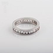 925银镀白金镶圆锆石戒指 - 3