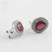 Earrings with Ruby 6,28cts  and diamonds in White Gold - 1