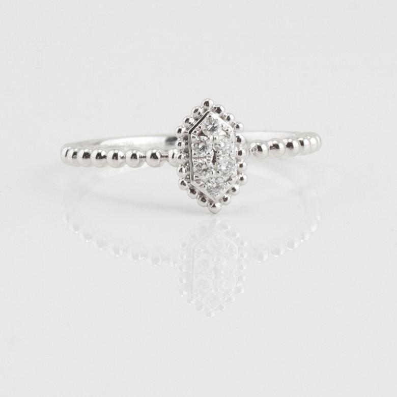 Bonito anillo oro blanco 18k y diamantes 0.09cts - 4