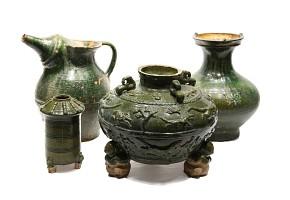 Lote de cuatro piezas de cerámica, China