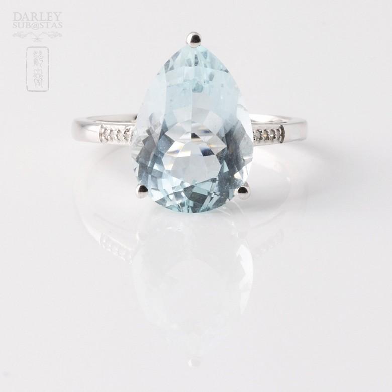 4.19克拉海蓝宝石配钻石18K白金戒指 - 3