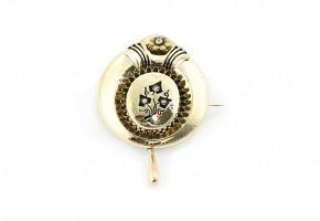 Broche de época isabelina, oro amarillo de 18 k, perlas y esmaltes