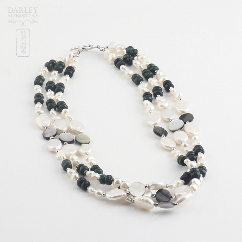 Necklace with pearls and semi-precious gems in sterling silver, 925 - 4