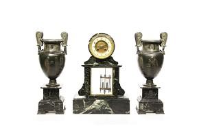 A Marble Clock Garniture with mercury pendulum, late 19th century.