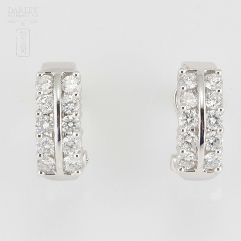 18k白金镶1.82克拉钻石耳环 - 1