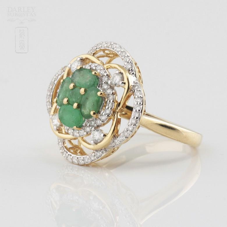 Precioso anillo esmeralda y diamantes - 2
