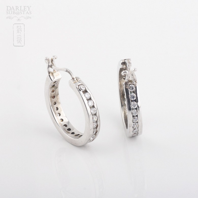 Rhodium silver earrings with cubic zirconia - 2