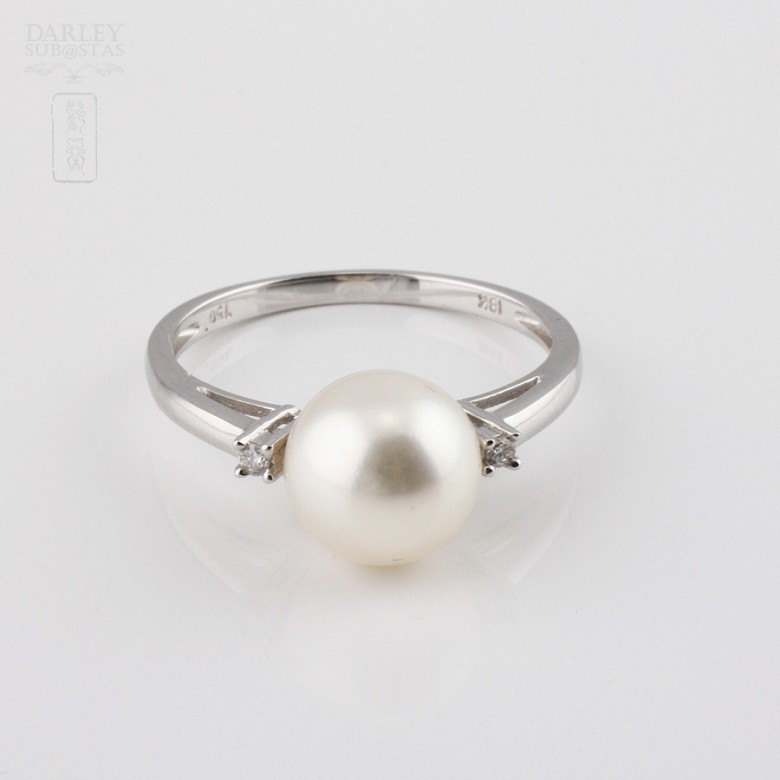 Ring with natural pearl and diamond in 18k - 4
