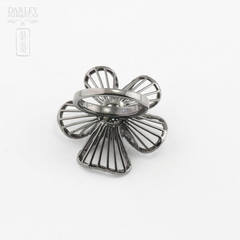 Fantástico anillo en plata ley con rodio negro - 3