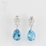 18k白金镶蓝晶配钻石耳环 - 5