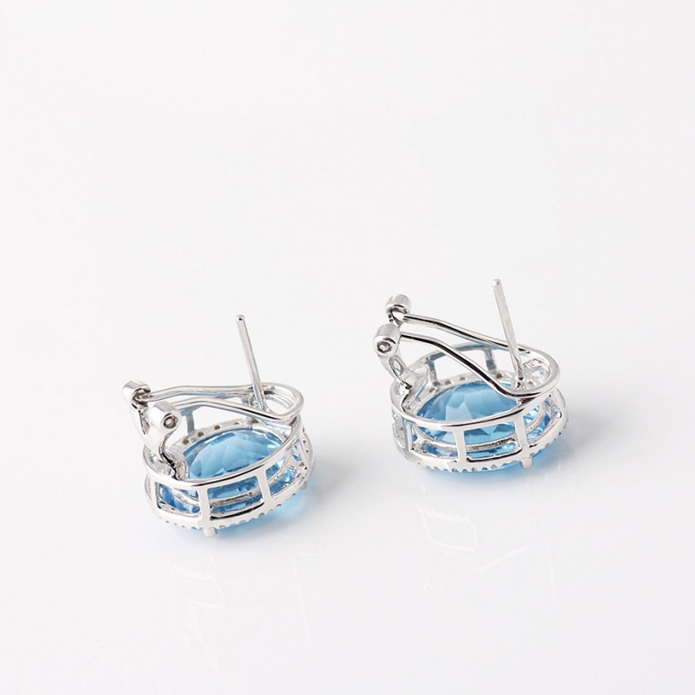 Earrings Blue Topaz 12.44 cts   and diamonds in 18k White Gold - 1