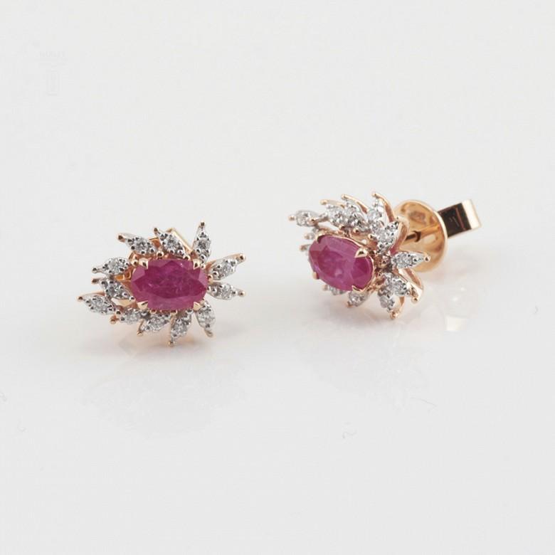 18k rose gold earrings, ruby and diamondss - 1
