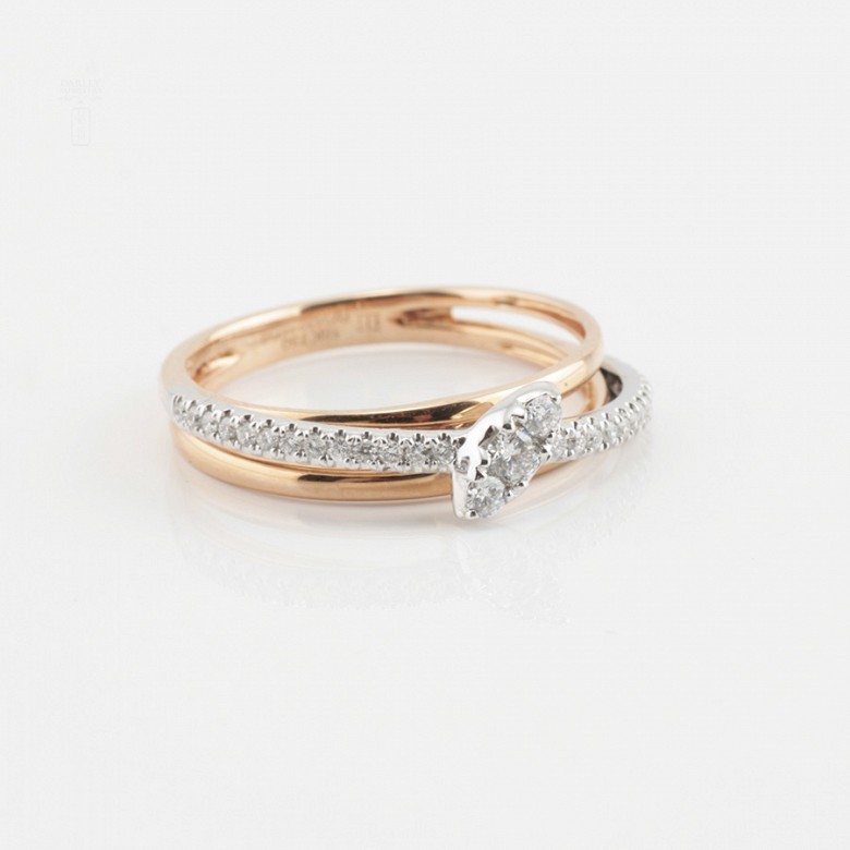 Precioso anillo oro rosa 18k y diamantes - 4
