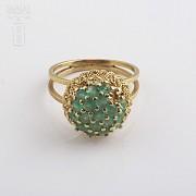 1.5克拉祖母绿18K黄金戒指 - 1