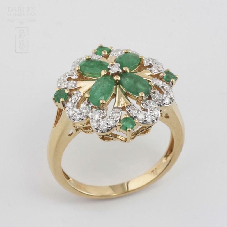 Fantástico anillo Esmeraldas y Diamantes - 4