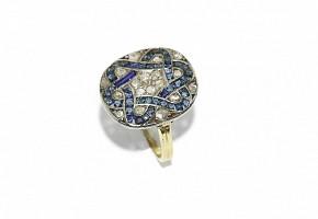 Anillo lanzadera, estilo Art Decó, con diamantes de talla antigua y zafiros